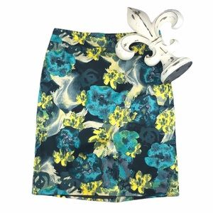 Ann Taylor Abstract Floral Pencil Skirt
